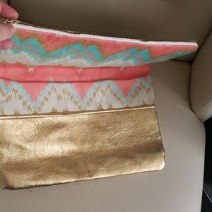 handmade Bags - New Golden fabric clutch Handbag